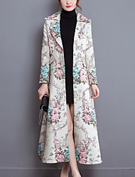 Women's Daily Chinoiserie Winter Fall Trench Coat,Floral Print Shirt Collar Long Sleeve Long Polyester Spandex