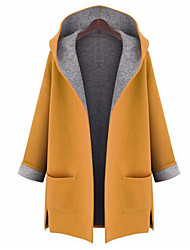 cheap -Women's Street chic Plus Size Coat-Solid Colored