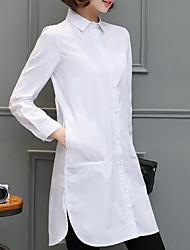 cheap -Women's Plus Size Shirt - Solid Shirt Collar