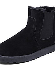 cheap -Men's Shoes PVC Leather Fall Winter Fur Lining Boots Booties/Ankle Boots Lace-up For Outdoor Yellow Gray Black