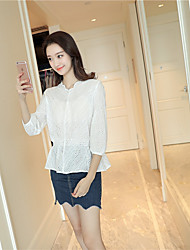 cheap -Women's Daily Tunics Lace Applique Edge Blouse,Solid V Neck 3/4 Length Sleeves Others