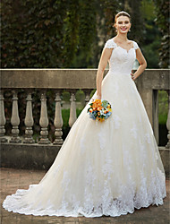 cheap -Ball Gown Queen Anne Cathedral Train Lace Over Tulle Custom Wedding Dresses with Beading Appliques by LAN TING BRIDE®