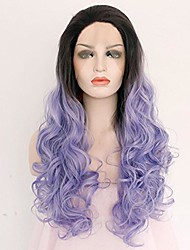cheap -Women Synthetic Wig Lace Front Medium Length Long Blue Ombre Hair Dark Roots Natural Hairline Lolita Wig Drag Wig Party Wig Celebrity Wig