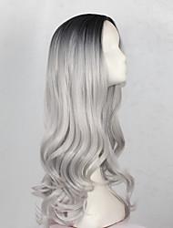 abordables -Perruque Synthétique Ondulé Cheveux Synthétiques Gris Perruque Femme Long Sans bonnet Gris noir