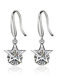 Women's Drop Earrings Cubic Zirconia Luxury Bling Bling Silver Plated Star Jewelry For Ceremony Valentine