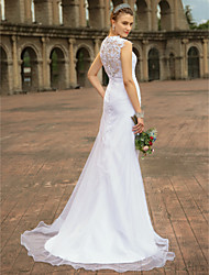 cheap -Mermaid / Trumpet Strapless Sweep / Brush Train Chiffon Lace Wedding Dress with Lace by LAN TING BRIDE®