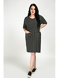 cheap -Cute Ann Women's Plus Size Vintage Cute Shift Dress - Striped