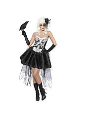 abordables -Squelette / Crâne Mariée fantomatique Tenue Féminin Halloween Le jour des morts Fête / Célébration Déguisement d'Halloween Noir Damier