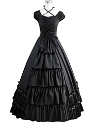 One-Piece/Dress Gothic Lolita Lolita Cosplay Lolita Dress Black Vintage Cap Short Sleeves Floor-length Dress For Other