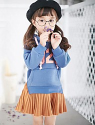Girl's Daily Print Dress,Cotton Polyester Winter Fall Long Sleeve Ruffle Camel Light Blue