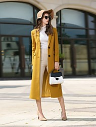cheap -Women's Daily Work Simple Vintage Casual Street chic Winter Fall Coat,Solid Notch Lapel Long Sleeve Long Cashmere Wool Polyester