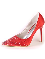 cheap -Women's Shoes Silk Spring Fall Basic Pump Wedding Shoes Rhinestone For Wedding Party & Evening Ivory Red White