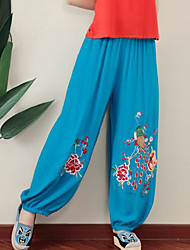 cheap -Women's Mid Rise Micro-elastic Wide Leg Pants,Casual Embroidered Summer