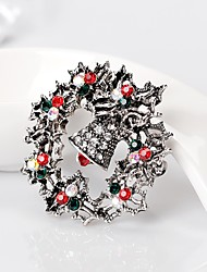 Women's Brooches Cute Style Personalized Rhinestone Alloy Flower Jewelry For Gift Christmas