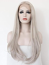 cheap -Women Synthetic Wig Lace Front Medium Length Long Wavy Straight Natural Wave Grey Party Wig Celebrity Wig Halloween Wig Carnival Wig