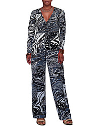 cheap -Women's Club Holiday Vintage Sexy Leopard V Neck Jumpsuits,Wide Leg Long Sleeve Spring Fall Polyester