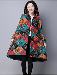 cheap -Women's Padded Coat,Vintage Daily Color Block-Linen Cotton Long Sleeves