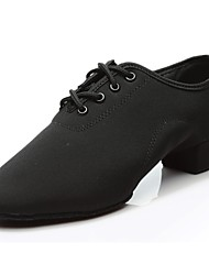 cheap -Men's Jazz Shoes Oxford Sneaker / Split Sole Chunky Heel Customizable Dance Shoes Black / Indoor