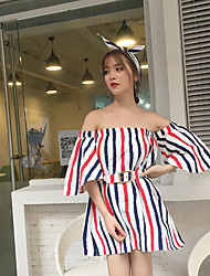 cheap -Women's Going out Cute Street chic Loose Dress,Striped Off Shoulder Above Knee Half Sleeves Linen Summer Mid Rise Inelastic Opaque Thin