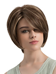 cheap -Synthetic Wig Natural Wave Layered Haircut / With Bangs Synthetic Hair Highlighted / Balayage Hair / Side Part Brown Wig Women's Short Capless