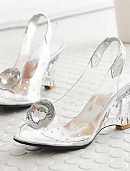 cheap -Women's Shoes PVC Spring Fall Comfort Novelty Sandals Wedge Heel Peep Toe Crystal Bowknot Buckle For Wedding Party & Evening Silver Gold