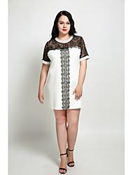 cheap -Cute Ann Women's Plus Size Vintage Cute Shift Dress - Patchwork Lace