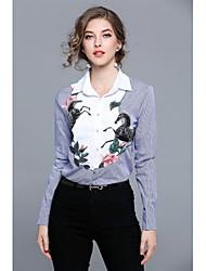abordables -Mujer Simple Chic de Calle Casual/Diario Trabajo Para Todas las Temporadas Camisa,Cuello Camisero Bordado Manga Larga Algodón