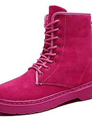 cheap -Women's Shoes PU Winter Fur Lining Comfort Cowboy / Western Boots Boots Round Toe Mid-Calf Boots Lace-up For Casual Blushing Pink Black