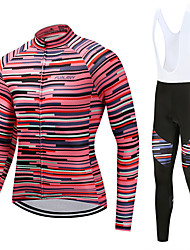 cheap -FUALRNY® Cycling Jersey with Bib Tights Men's Long Sleeves Bike Clothing Suits High Elasticity Fleece Winter Cycling/Bike Red