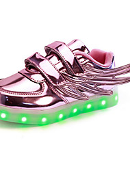 cheap -Girls' Shoes PU Spring Fall Light Up Shoes Comfort Novelty Sneakers Magic Tape LED For Casual Outdoor Blushing Pink Silver Gold