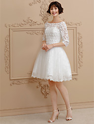 cheap -Ball Gown Illusion Neckline Short / Mini Lace Tulle Custom Wedding Dresses with Beading Lace by LAN TING BRIDE®