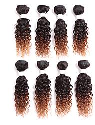 Human Hair Brazilian Ombre Hair Weaves Curly Hair Extensions One-piece Suit Black/Burgundy Black/Medium Auburn Black/Strawberry Blonde