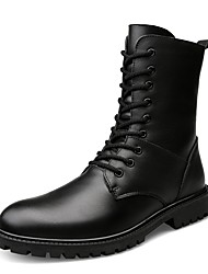 cheap -Men's Shoes Leather Fall / Winter Motorcycle Boots / Cowboy / Western Boots Boots Mid-Calf Boots Black