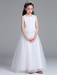 A-Line Ankle Length Flower Girl Dress - Organza Sleeveless Jewel Neck with Flower(s) Pearl Detailing Sash / Ribbon by YDN
