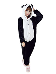 cheap -Kigurumi Pajamas Panda Onesie Pajamas Costume Polar Fleece Black/White Cosplay For Adults' Animal Sleepwear Cartoon Halloween Festival /