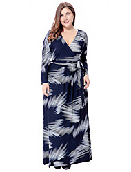cheap -Women's Plus Size Going out Sophisticated Boho Loose Sheath Swing Dress Cut Out Print High Rise Maxi V Neck