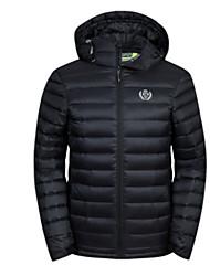 Herren Daunen Mantel,Standard Einfach Lässig/Alltäglich Solide-Polyester Weiße Entendaunen Langarm Blau / Schwarz