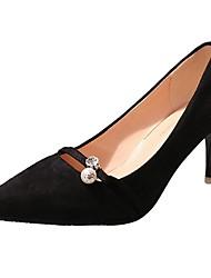 Women's Shoes Carbon Fiber Summer Comfort Heels Walking Shoes Low Heel Pointed Toe Rhinestone For Outdoor Light Brown Blushing Pink Black