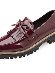 cheap -Women's Shoes Patent Leather Winter Comfort Loafers & Slip-Ons Low Heel Round Toe Bowknot For Outdoor Burgundy Beige Black