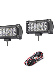 cheap -2PCS 54W 5400LM 6000K 3-Rows LED Work Light Cool White Spot Offroad Driving Light for Car/Boat/Headlight IP68 9-32V  2m 1-To-2 Wiring Harness Kit