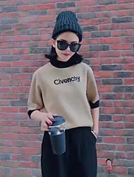 Standard Pullover Da donna-Casual Semplice Con stampe Rotonda Mezza manica Pelliccia sintetica Autunno Medio spessore Media elasticità