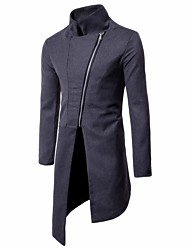cheap -Men's Daily Going out Simple Vintage Casual Winter Fall Coat,Solid Stand Long Sleeve Long Polyester