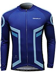 Cycling Jersey Men's Men Long Sleeves Bike Jersey Cycling Low Windage Ultraviolet Resistant Terylene Coolmax Striped Geometric Pattern