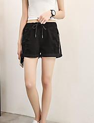 Women's Mid Rise Micro-elastic Jeans Shorts Pants,Simple Wide Leg Color Block