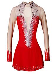 Robe de Patinage Artistique Femme Patinage Robes Rouge Strass Tenue de Patinage Fait à la main Classique Manches Longues Patinage
