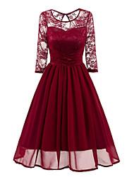 cheap -Women's Daily Sheath Swing Dress,Solid Round Neck Midi Long Sleeves Polyester Fall Mid Rise Micro-elastic Medium