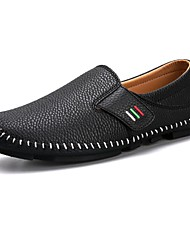 cheap -Men's Shoes Real Leather Nappa Leather Spring Fall Comfort Loafers & Slip-Ons For Casual Blue Black White