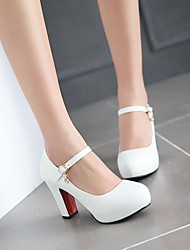 Girls' Shoes PU Fall Tiny Heels for Teens Heels For Casual White Black Beige