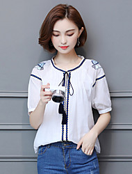 Women's Casual/Daily Simple Shirt,Embroidery Round Neck Short Sleeves Cotton Linen