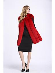 Feminino Colete Casual Sofisticado Outono Inverno,Sólido Padrão Pêlo de Raposa Decote Redondo